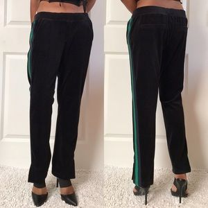 Pam & Gela Navy Velour Pants with Split Hem